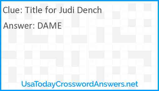 Title for Judi Dench Answer