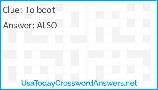 To boot Answer