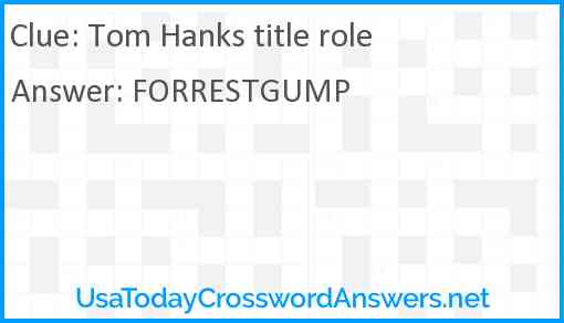 Tom Hanks title role Answer
