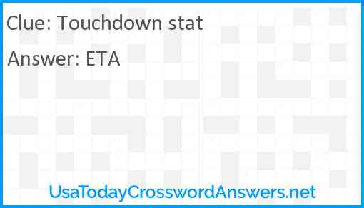 Touchdown stat Answer