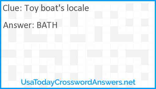 Toy boat's locale Answer