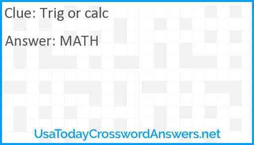 Trig or calc Answer