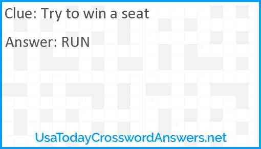 Try to win a seat Answer