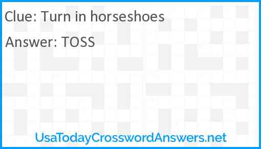Turn in horseshoes Answer