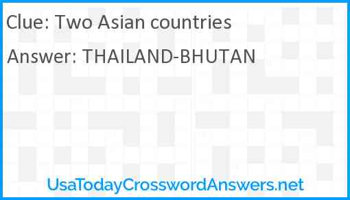 Two Asian countries Answer
