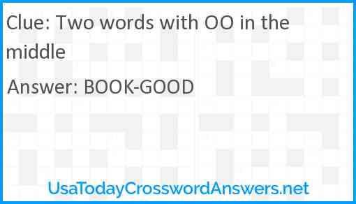 Two words with OO in the middle Answer