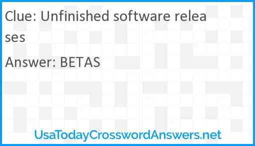 Unfinished software releases Answer