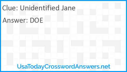 Unidentified Jane Answer