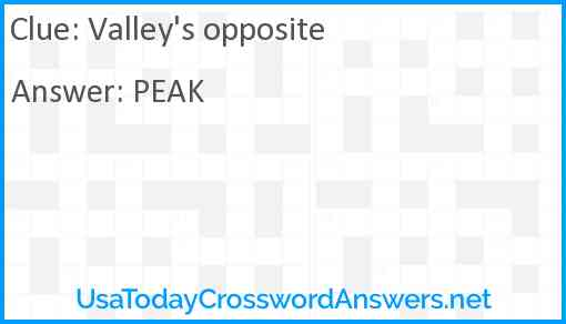 Valley's opposite Answer