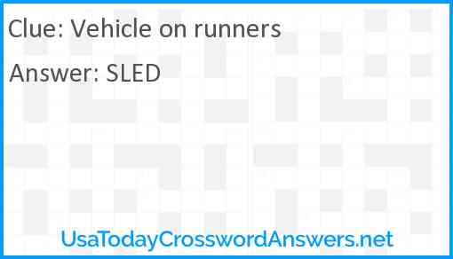 Vehicle on runners Answer