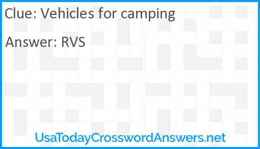 Vehicles for camping Answer