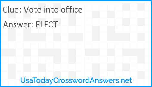 Vote into office Answer