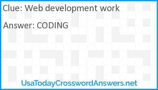Web development work Answer