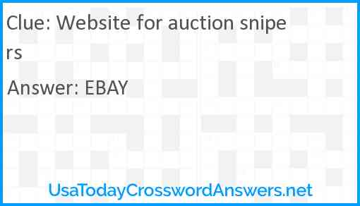 Website for auction snipers Answer