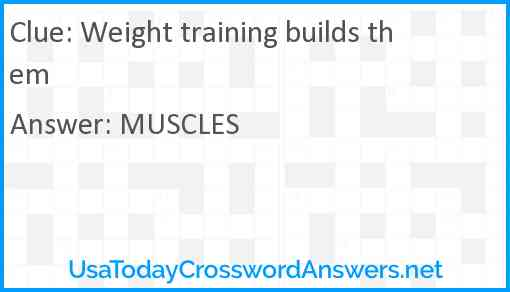 Weight training builds them Answer