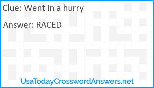 Went In A Hurry Crossword Clue Usatodaycrosswordanswers Net