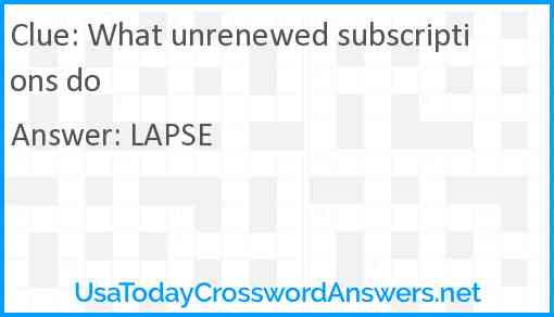 What unrenewed subscriptions do Answer