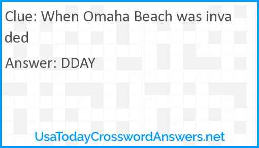 When Omaha Beach was invaded Answer