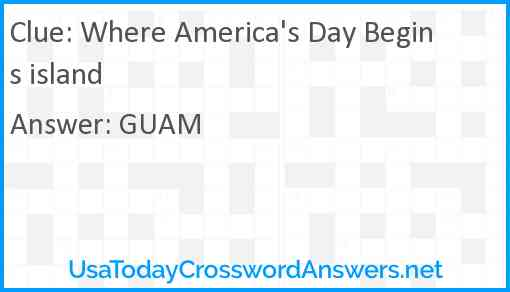 Where America's Day Begins island Answer