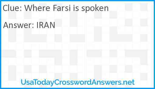 Where Farsi is spoken Answer