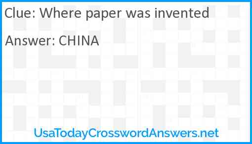 Where paper was invented Answer