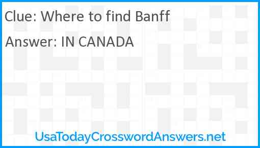 Where to find Banff Answer