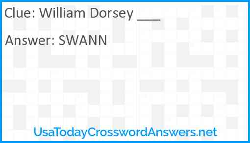 William Dorsey ___ Answer