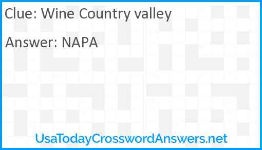 Wine Country valley Answer