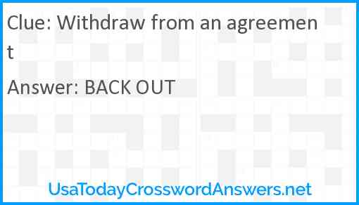 Withdraw from an agreement Answer