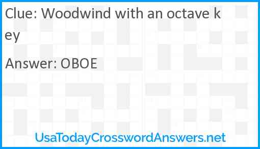 Woodwind with an octave key Answer