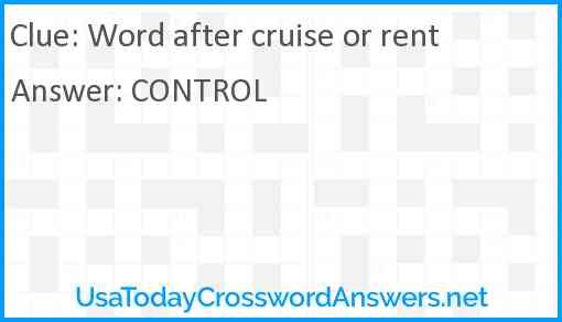 Word after cruise or rent Answer