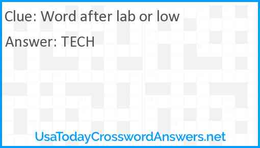 Word after lab or low Answer