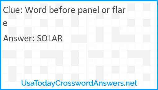 Word before panel or flare Answer