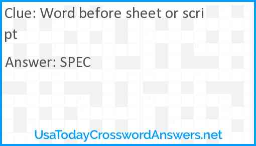 Word before sheet or script Answer