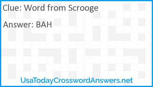 Word from Scrooge Answer