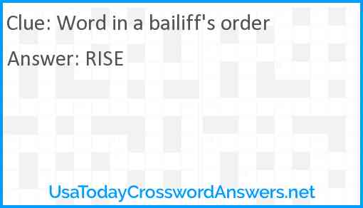 Word in a bailiff's order Answer