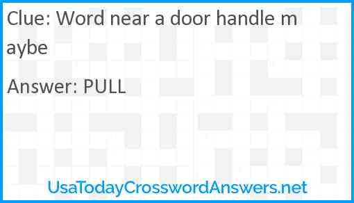 Word near a door handle maybe Answer