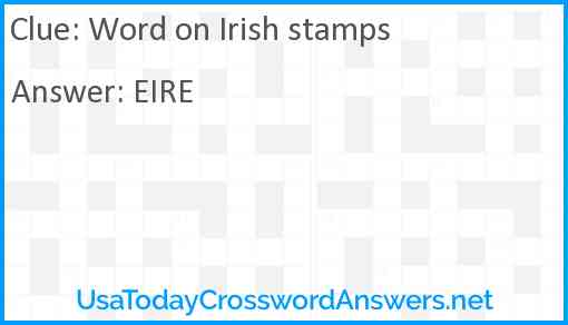 Word on Irish stamps Answer