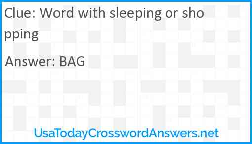 Word with sleeping or shopping Answer