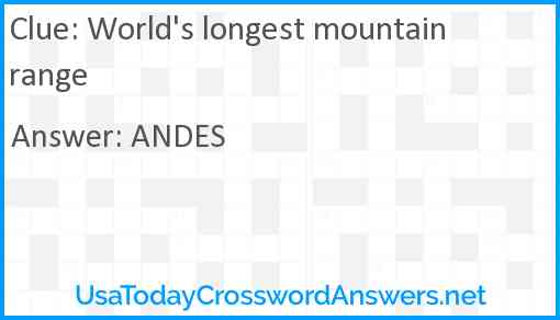 World's longest mountain range Answer