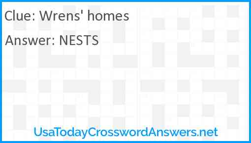 Wrens' homes Answer
