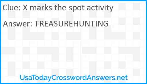 X marks the spot activity Answer