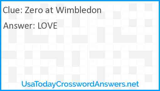 Zero at Wimbledon Answer